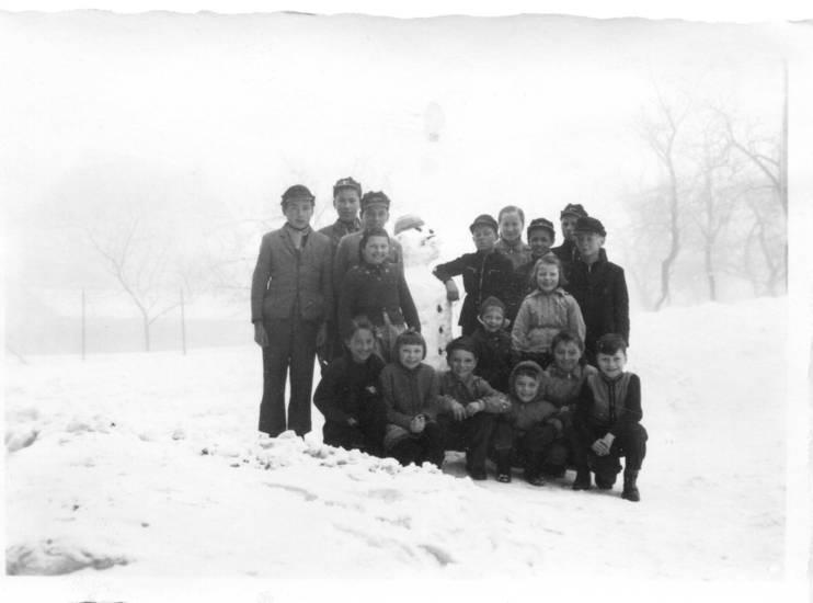 kinder, schnee, schneemann, winter