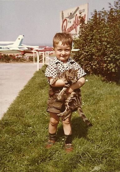 Flughafen, flugzeug, junge, Katze, lederhose