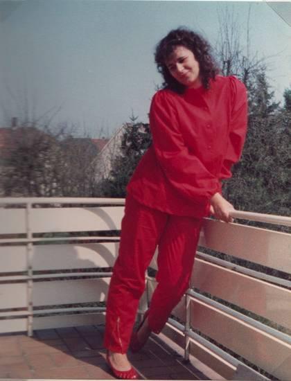 Balkon, Frühling, mode, Pose, Rot