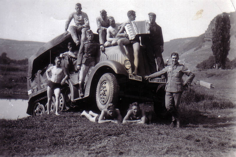 Akkordeon, Halbkettenfahrzeug, see, Soldaten, Sommer, Transporter