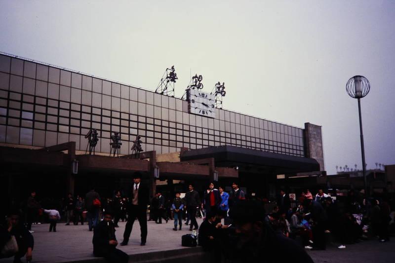 bahnhof, menschen, reisende, uhr, Wuxi