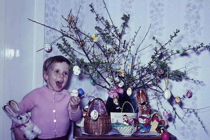 Eier, hase, kind, körbchen, ostergras, Ostern