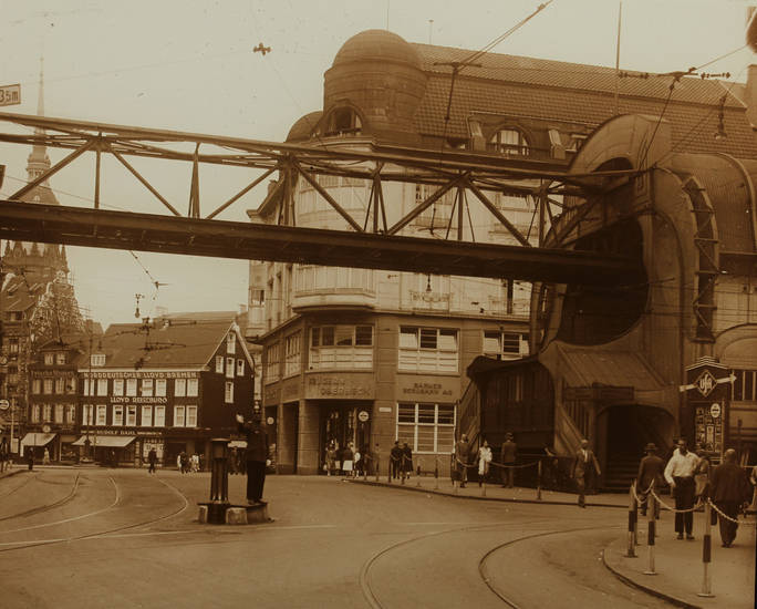 Architektur, ingress, Rathausbrücke, Schwebebahn, Straßenbahnschienen, technik, Wuppertal