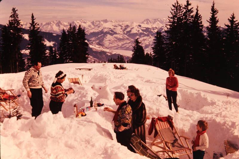 Berge, Gebirge, gipfel, Liegestuhl, mode, picknick, schnee, sonnenstuhl, winter