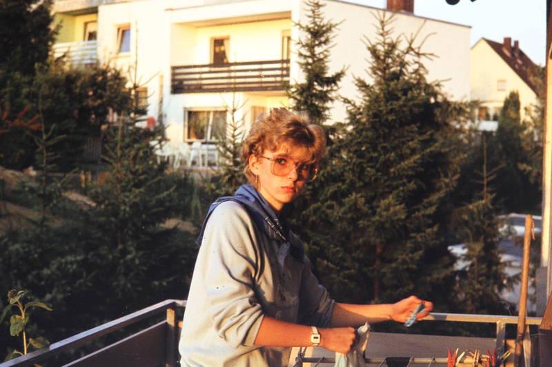 Balkon, Brille, frau, mode, wäsche, Wohngebiet