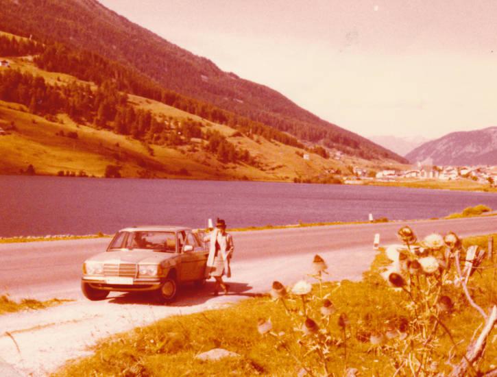 auto, landschaft, mercedes, Reschensee, see