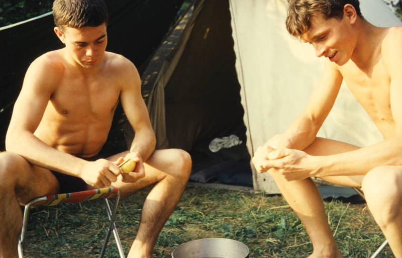 camping, kartoffeln, Schälen, zelt