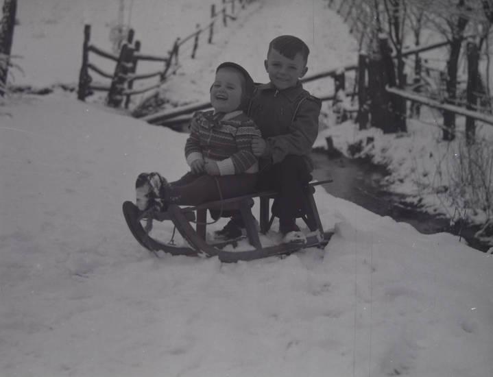 holzschlitten, junge, Kindheit, kleinkind, schnee, winter