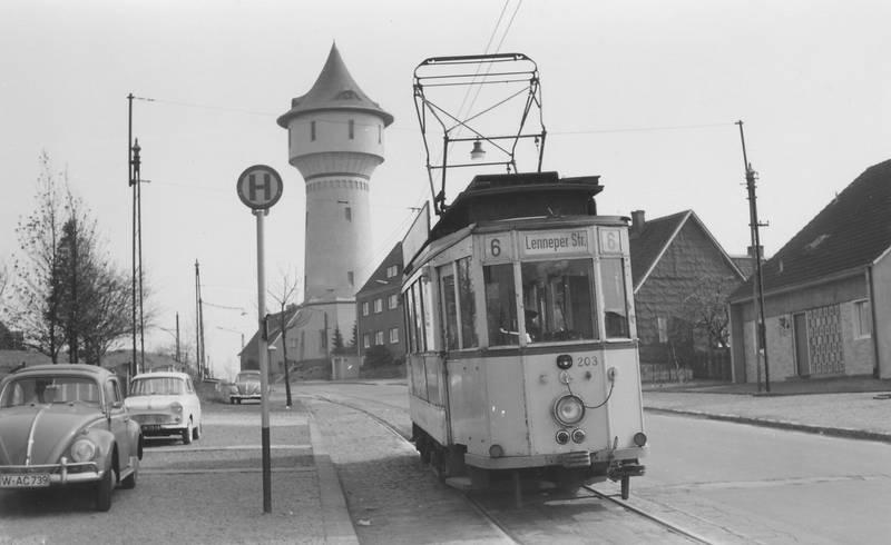 1904, 1963, 6, auto, Haltestelle, Hatzfeld, lenneper straße, Straßenbahn, wasserturm, Wuppertal