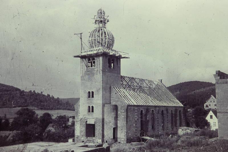 Baustelle, Dach, eisern, Evangelische Kirche, Fassade, holz, kirche, kirchendach, Rohbau, Siegen