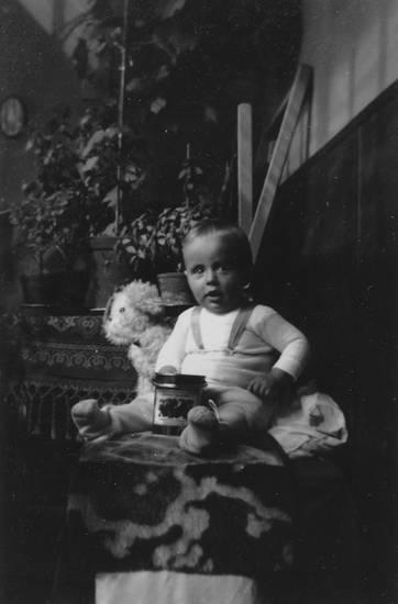 1932, dose, Hocker, kind, Teddybär