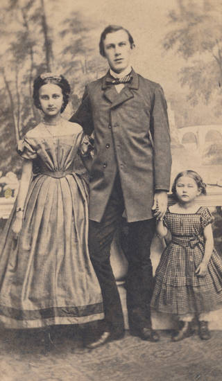 familienfoto, töchter, vater