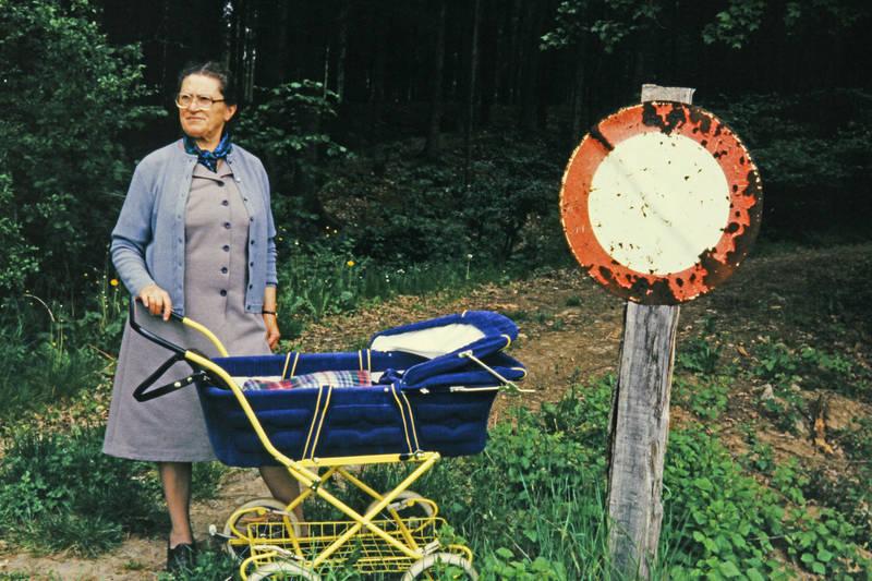 Durchfahrt verboten, kinderwagen, Schild, straßenschild, Waldweg
