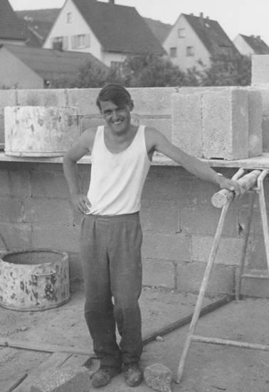 Bauarbeiter, Baustelle, gerüst, Hausbau, Steine