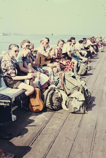 Gitarre, Holzbank, Rucksack, schiff, Tasche, Warten