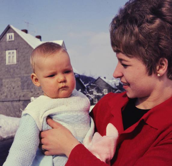 baby, Kindheit, kleinkind, Mutter, schnee