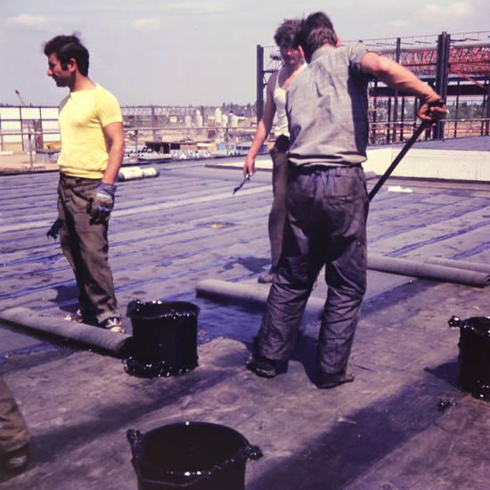 arbeit, arbeitsalltag, Bauarbeiter, Baustelle, handwerk, Handwerker, schweißbahn, schweißen