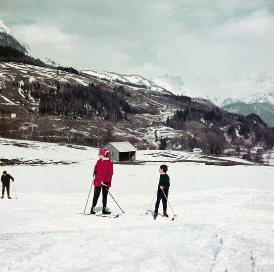 Kindheit, schnee, skier, Skifahren, urlaub, winter