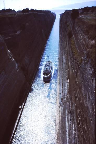 felswand, geschäft, Kanal, Korinth, schiff