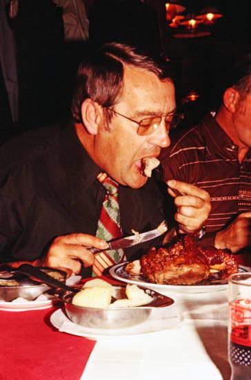Besteck, Brille, essen, knödel, restaurant, schweinshaxe