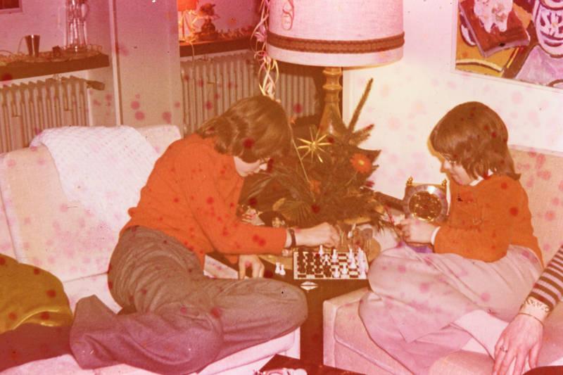 Geschwister, Schach, Schwester, spiel, spielen, Weihnachten
