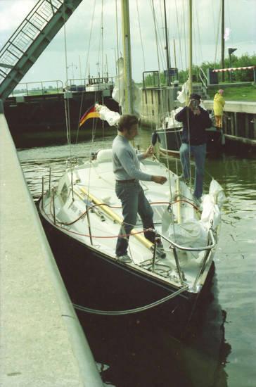 Schleuse, Segelboot, segeln, Seil, tau