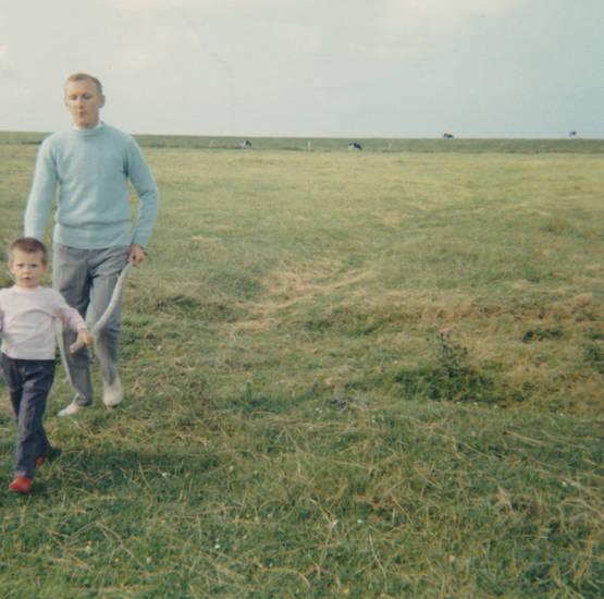 ausflug, Kindheit, Kuh, spaziergang, Stock, vater