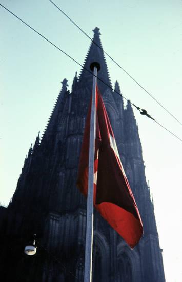 fahne, flagge, jahresarbeit, Kölner Dom, land, nation, nationalflagge