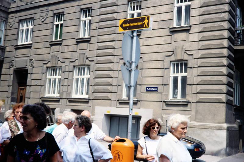 abfalleimer, hundertwasserhaus, mistkübel, Österreich, Schild, tourist, Wien