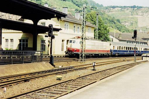 Einfahrt in Bacharach Bahnhof