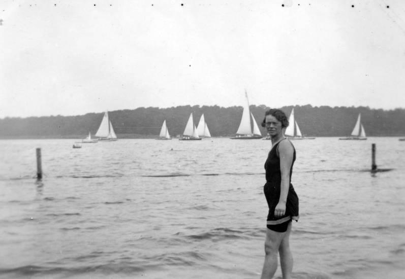 Brille, frisur, see, Segelboot, Ufer, urlaub