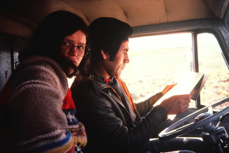 1979, auto, autofahrt, Brille, Chile., Karte, KFZ, Landkarte, lenkrad, PKW, Pullover, reise, Trämpen, urlaub, Wüste