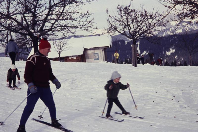 familie, Kälte, schnee, Ski, ski fahren, vater, winter