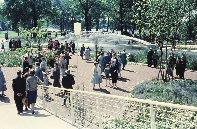 Besucher, BuGa, BuGa 57, Bundesgartenschau, köln, mode, Rheinpark, spaziergang, Springbrunnen, teich