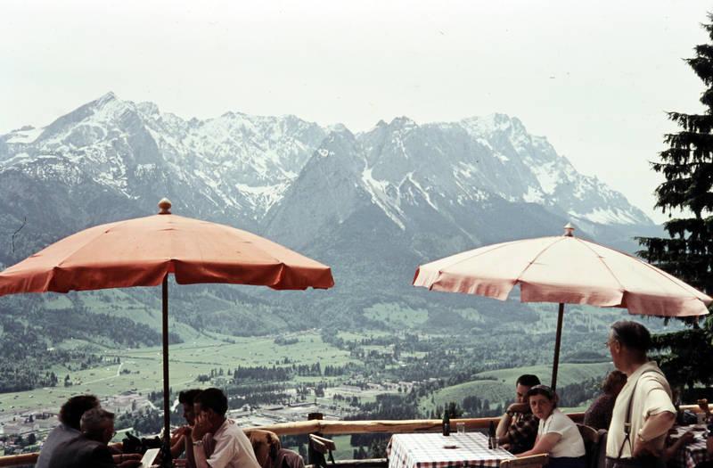 Aussicht, bayern, Berge, café, Erholung, gastronomie, pause, restaurant, Sonnenschirm, Tal, urlaub