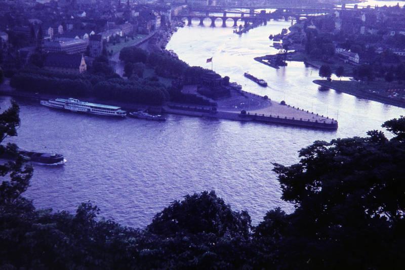 Deutsches Eck, fluss, Koblenz, Mosel, Mündung, Rhein