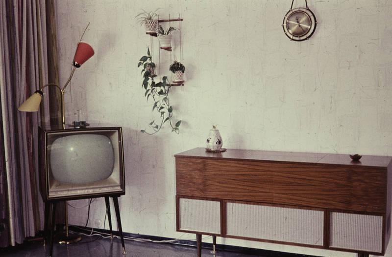 Deko, Dekoration, Fernseher, kommode, Möbel, musikschrank, pflanze, stehlampe, Wanduhr
