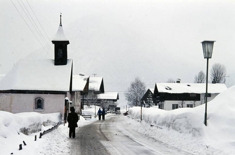 baum, gebäude, haus, Laterne, Österreich, schnee, straßenlaterne, urlaub, winter