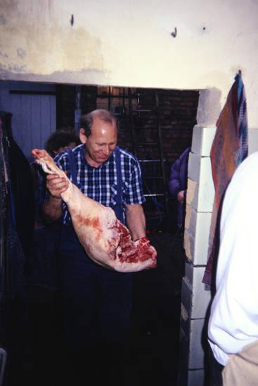Fleisch, Fleischer, hausschlachtung, keule, schlachten, Schlachtung, Schwein