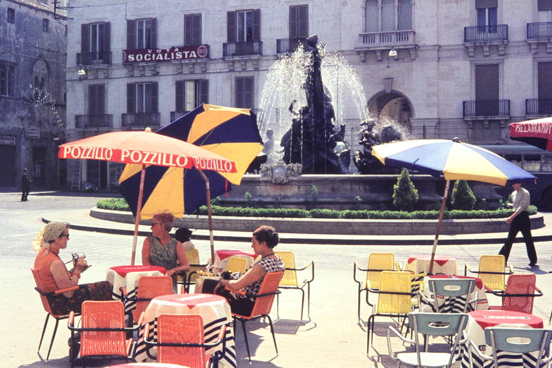 1960er, Brunnen, café, nrw, Piazza Archimedes, Pozzillo, Springbrunnen, Syrakus