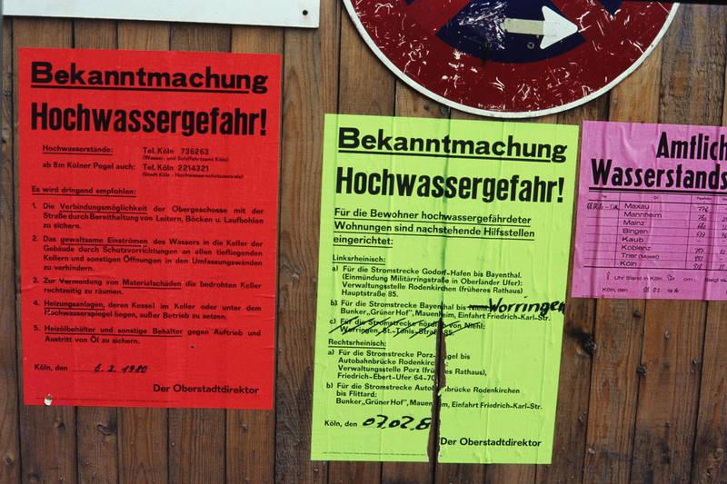 bekanntmachung, Hochwasser, hochwassergefahr, köln, plakat