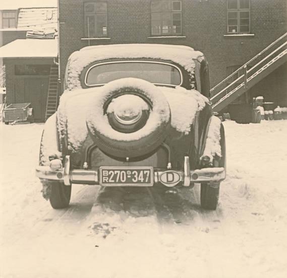 auto, gebäude, haus, leiter, schnee, winter