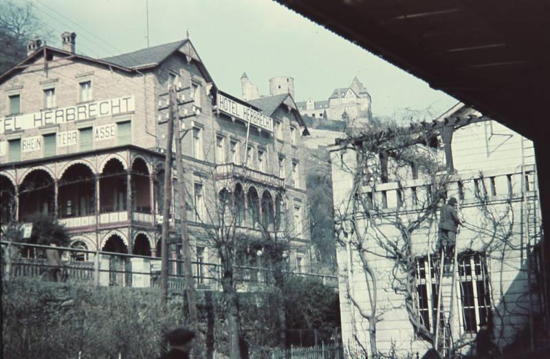 beschneiden, burg, Burg Stahleck, gebäude, haus, Hotel, hotel herbrecht, leiter, rankpflanze, wein