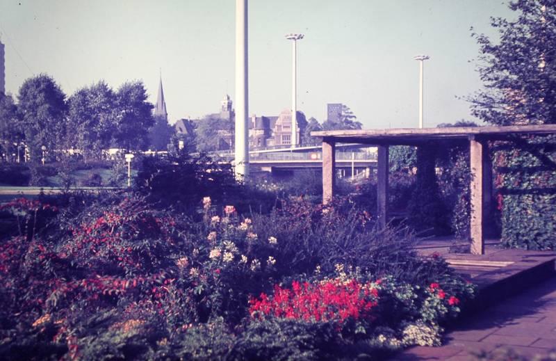 brücke, kirche, Laterne, Leverkusen, park, Wiesdorf