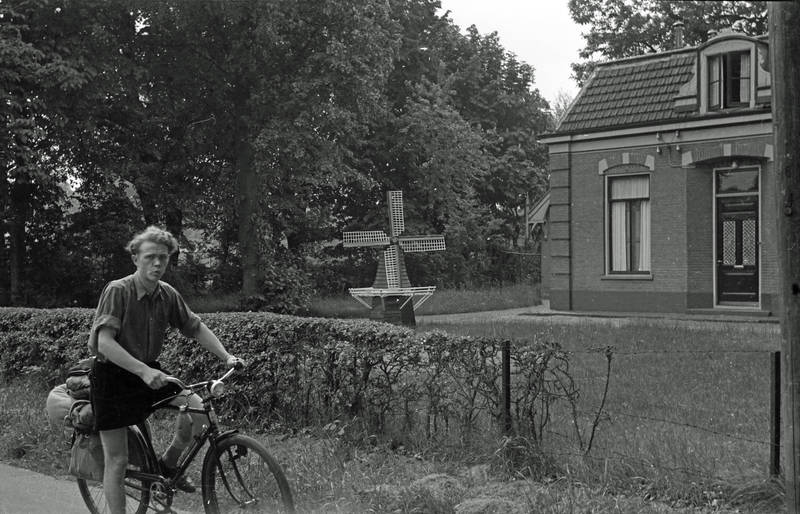Aufsteigen, fahrrad, garten, haus, windmühle