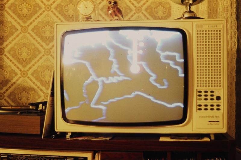 Fernseher, Fernsehgerät, Goya Royal 765, Philips, Plattenspieler, Schallplattenspieler, Tagesschau, tapete, tv, uhr, Wettervorhersage