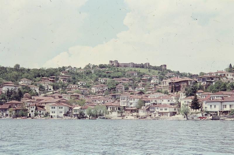 baum, boot, burg, haus, Ohrid, Ohridsee, see, skyline, wasser