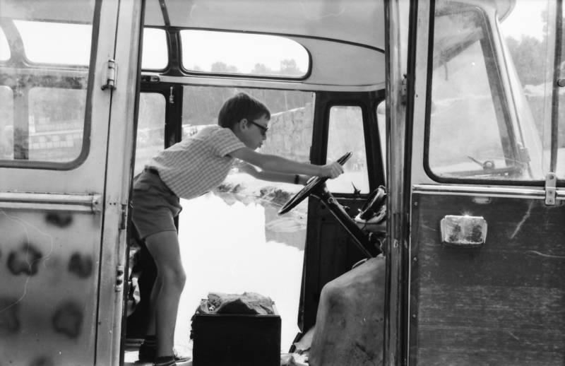 bus, KFZ, Kindheit, lenkrad, sonnenbrille