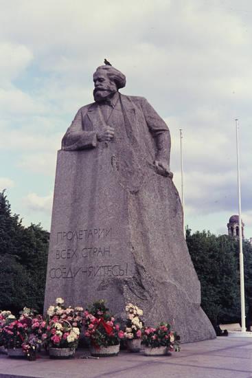 blumen, karl-marx-denkmal, Moskau, statue, taube
