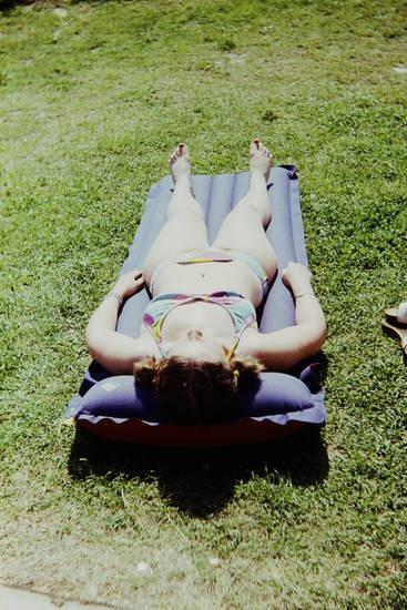 Bikini, ferien, Luftmatratze, Sonne, urlaub